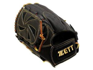ZETT Pro Model 12 inch LHT Black Pitcher Glove + BONUS