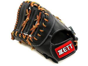ZETT Gold Line 13 inch LHT Black First Base Mitt + BONUS