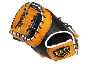 ZETT Pro Elite 12.5 inch LHT Black/Tan First Base Mitt + BONUS