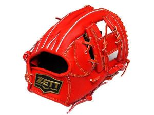 ZETT Innovation 11.75 inch Red Infielder Glove + BONUS