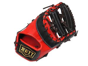 ZETT Pro Elite 12.5 inch First Base Mitt - Black/Red
