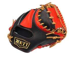 ZETT Pro Elite 33 inch Open Back Catcher Mitt - Black/Red